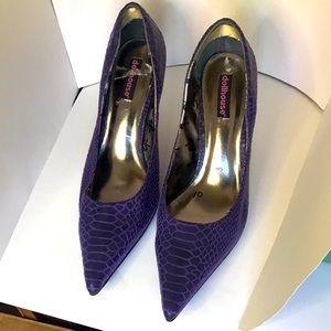 10 Dark Purple Snake Print Dollhouse Heels